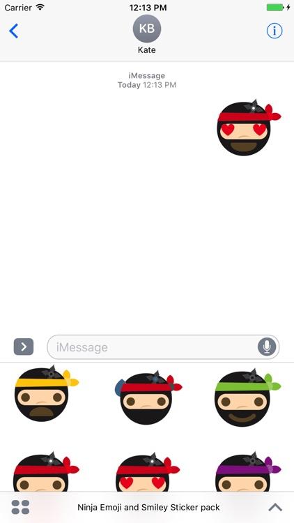 Ninja Emoji and Smiley Sticker pack screenshot-3