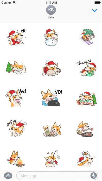 Merry Xmas Corgi Dog Sticker screenshot 1