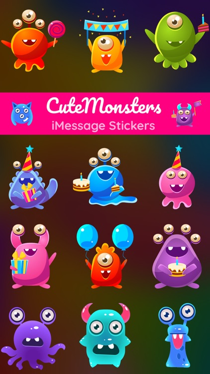 Cute Monsters - Alien Stickers Pack for iMessage