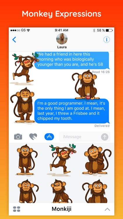 Monkiji - Funny Monkey Emoji Text Chat Stickers