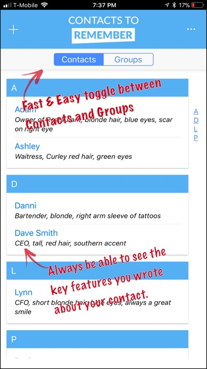 Contacts to Remember
