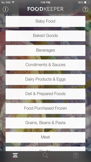 USDA FoodKeeper Screenshot