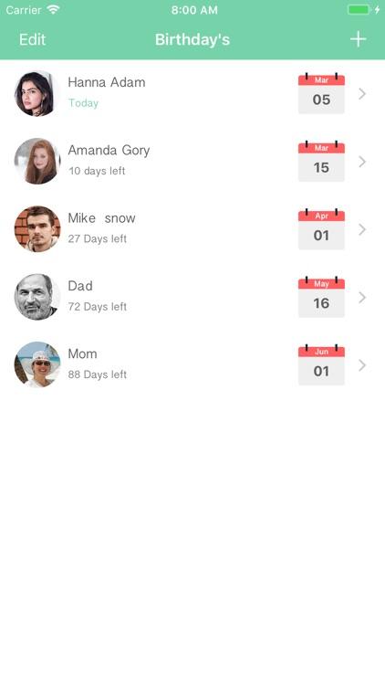 Birthday's Reminder App screenshot-4