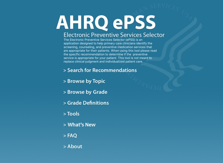AHRQ ePSS for iPad screenshot-0