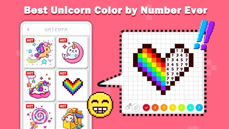 Unicorn Art: Color By Number