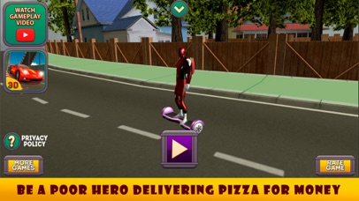Superhero Hoverboard Pizza Delivery screenshot one
