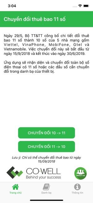 Đổi đầu số, ứng dụng chuyển 11 số sang 10 số trên iOS