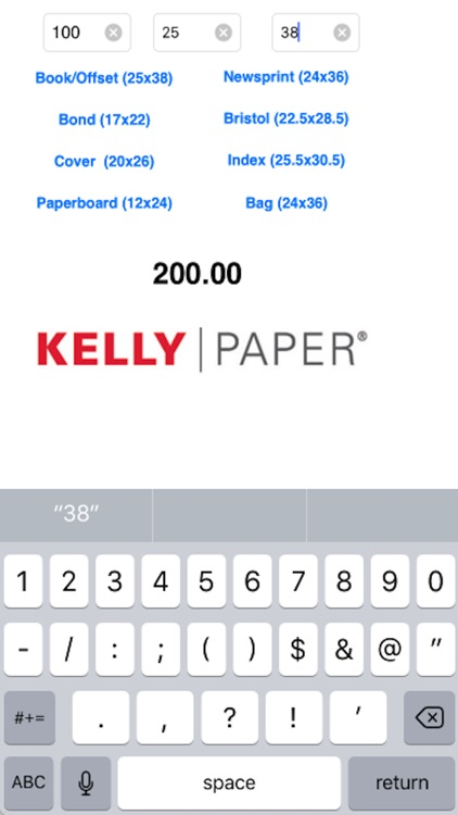 Kelly Paper Basis Weight to M-Weight Calculator