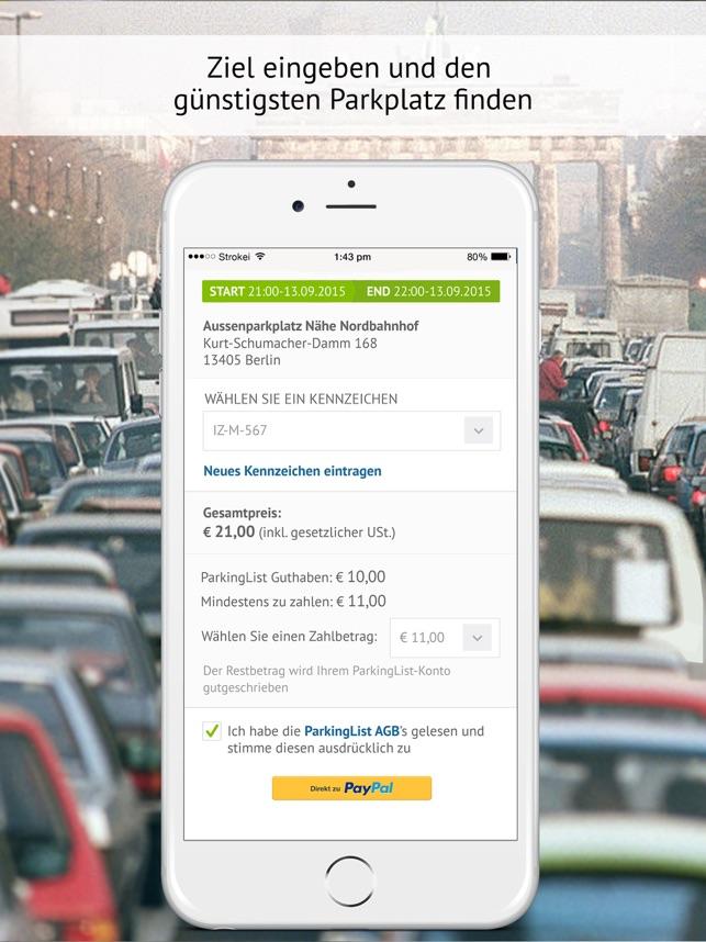 ParkingList - Parkplatz App Screenshot