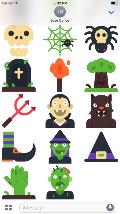 Halloween Flat Sticker Pack for iMessage screenshot-3