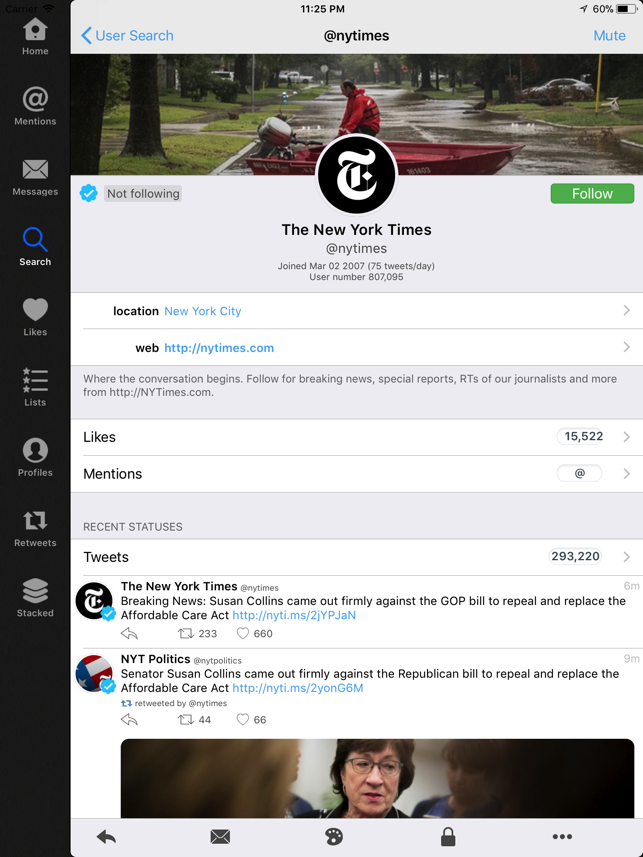 Tweetings for iPad Screenshot
