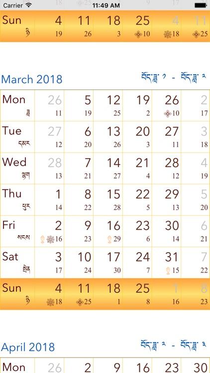 Tibetan Buddhist Calendar