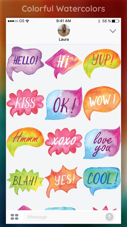Watercolor Words Sticker Pack screenshot-3