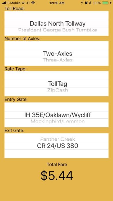 DFW Quick Toll Calculator Screenshot