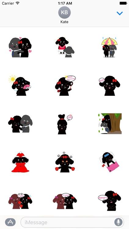 Black Poodle Dog and Friends Emoji Sticker