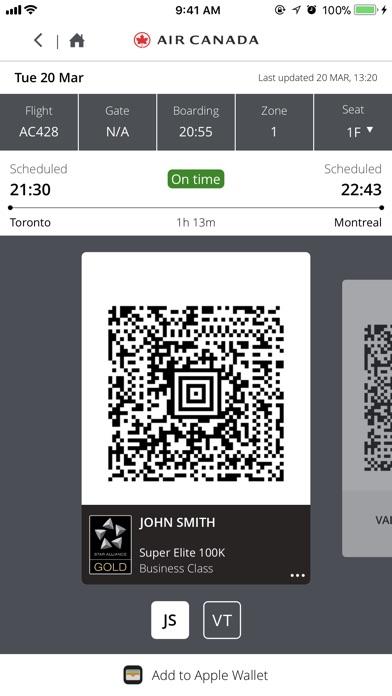 Air Canada review screenshots