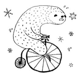Lazy Sloth In Winter Sticker