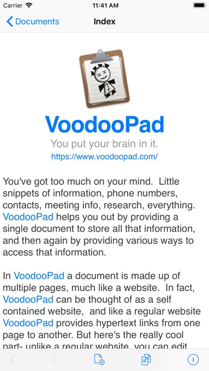 VoodooPad screenshot-0