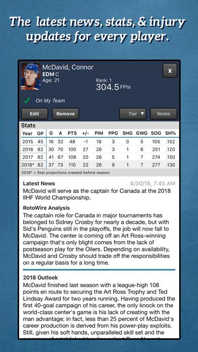 Fantasy Hockey Draft Kit '18 screenshot 2