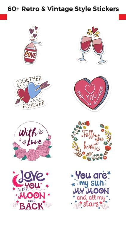 Love Stickers + Quotes - 80's Vintage & Retro Set
