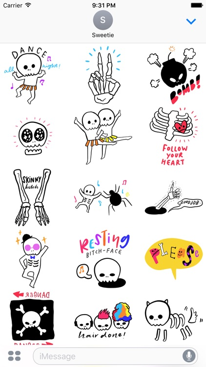 Happy Halloween! Skeleton Sticker Pack