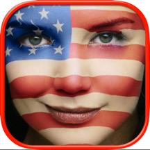 国旗贴纸贴在脸上照片编辑器 在线