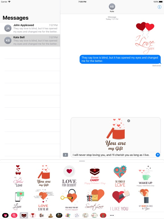 Love Message - Flat Stickers screenshot 6