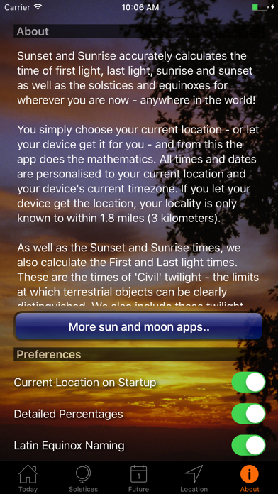 Sunset And Sunrise Times review screenshots