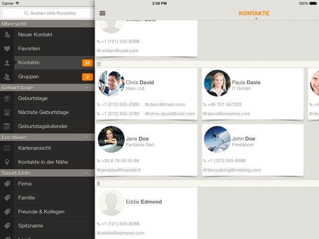 Contaqs - der Kontaktmanager Screenshot