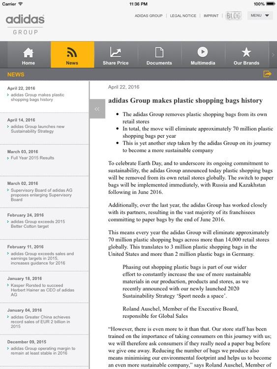 adidas Investor Relations iPad screenshot-3