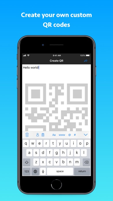 QR Code Reader +. Screenshot on iOS