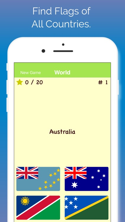 Flags Quiz, Find All Countries
