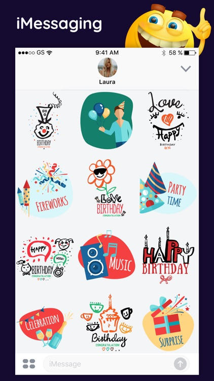 Birthday Party Stickers Wishes screenshot-4