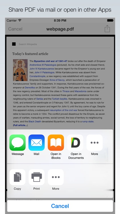 Webpage to PDF for Safari extension