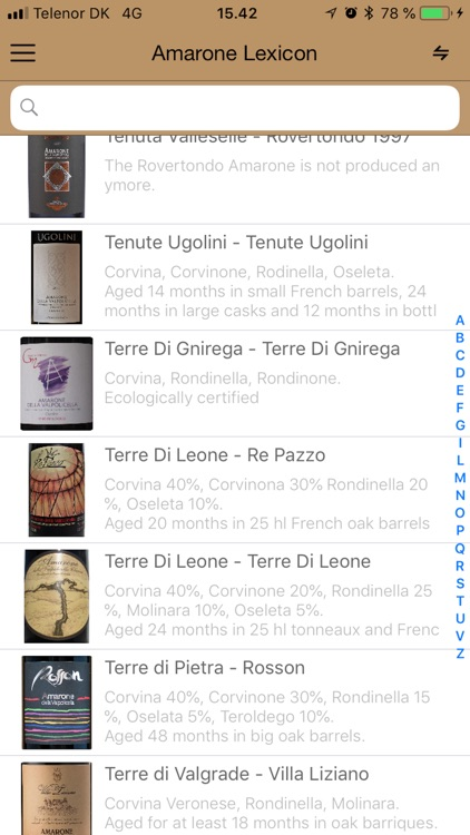 Amarone wine database