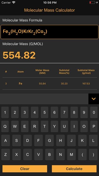 Molecular Mass Calculator Pro