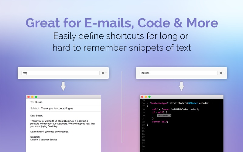 QuickKey–Email & Text Expander Screenshots