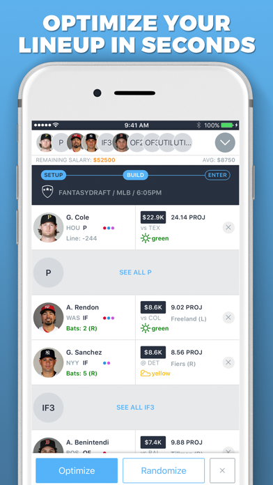 LineupHQ Express FantasyDraft Screenshot