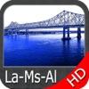 Louisiana Miss. Alabama HD Map