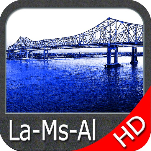 Louisiana Miss. Alabama HD Map