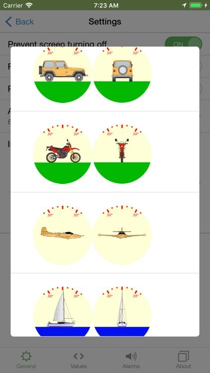 Inclinometer, speedometer
