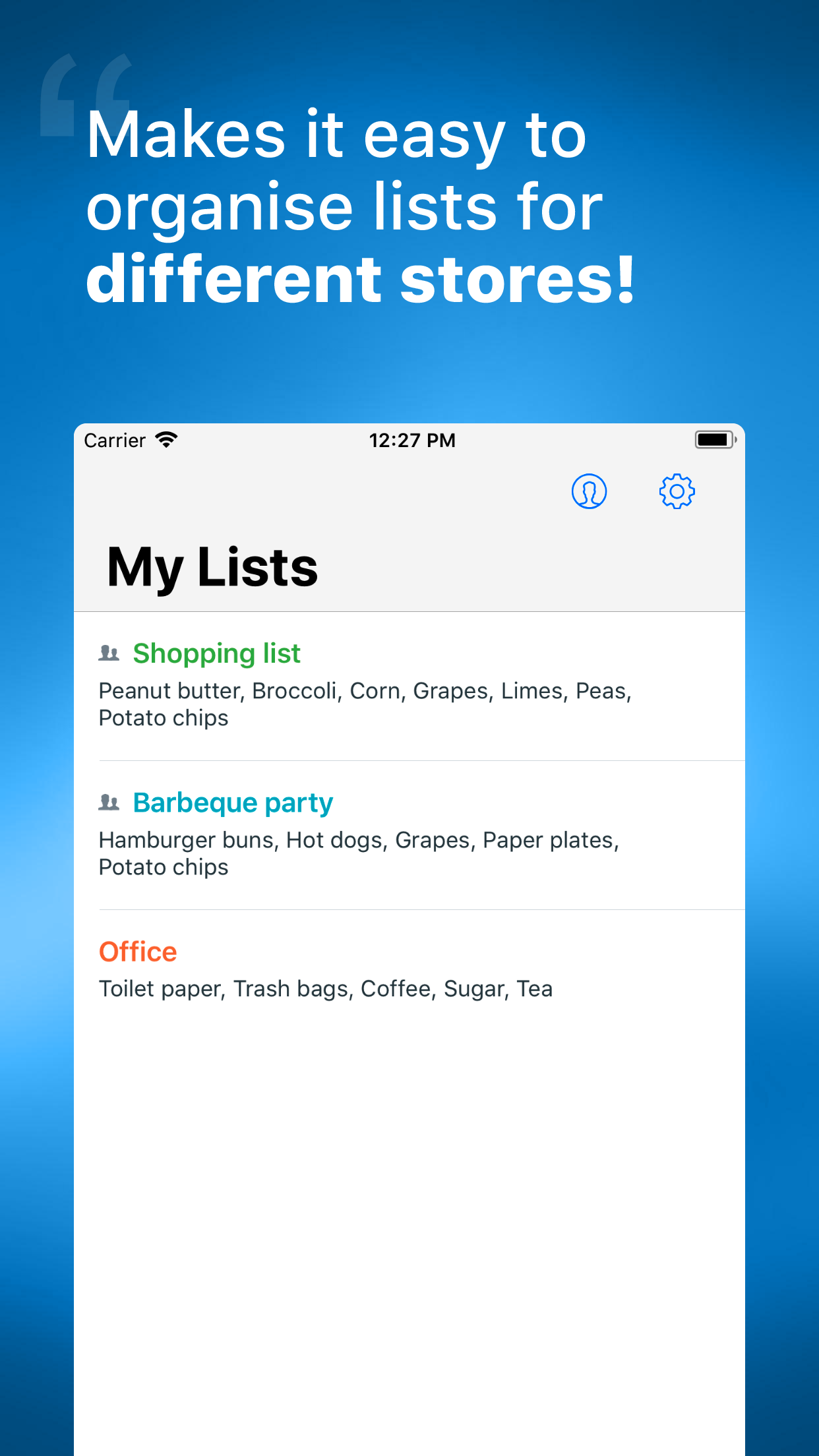 Buy Me a Pie! - Grocery List Screenshot
