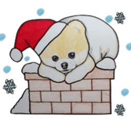 Pomeranian Dog in Xmas Sticker