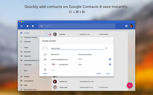 ‎QuickContacts for Google on the Mac App Store