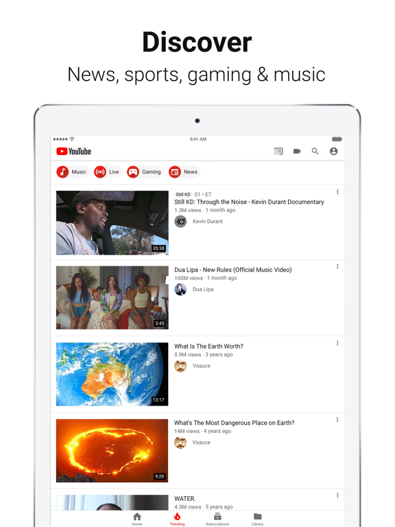 Image of YouTube: Watch, Listen, Stream for iPad