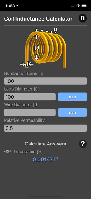 ‎Coil Inductance Calculator