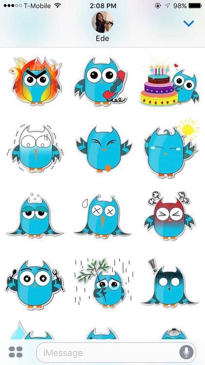 Blue Owl Fukuro Stickers screenshot-2