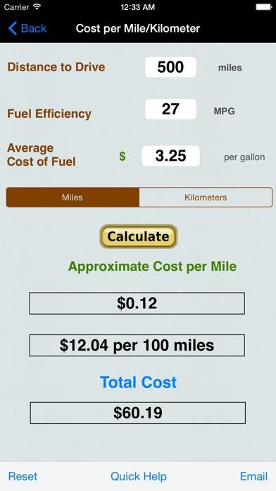 Roadtrip Gas Cost Calculator review screenshots