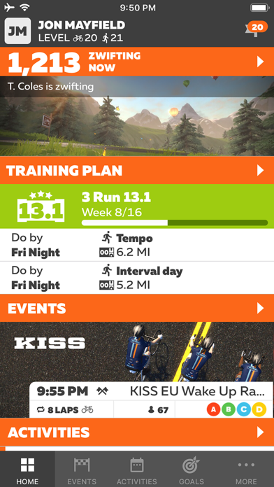 messages.download Zwift Companion software