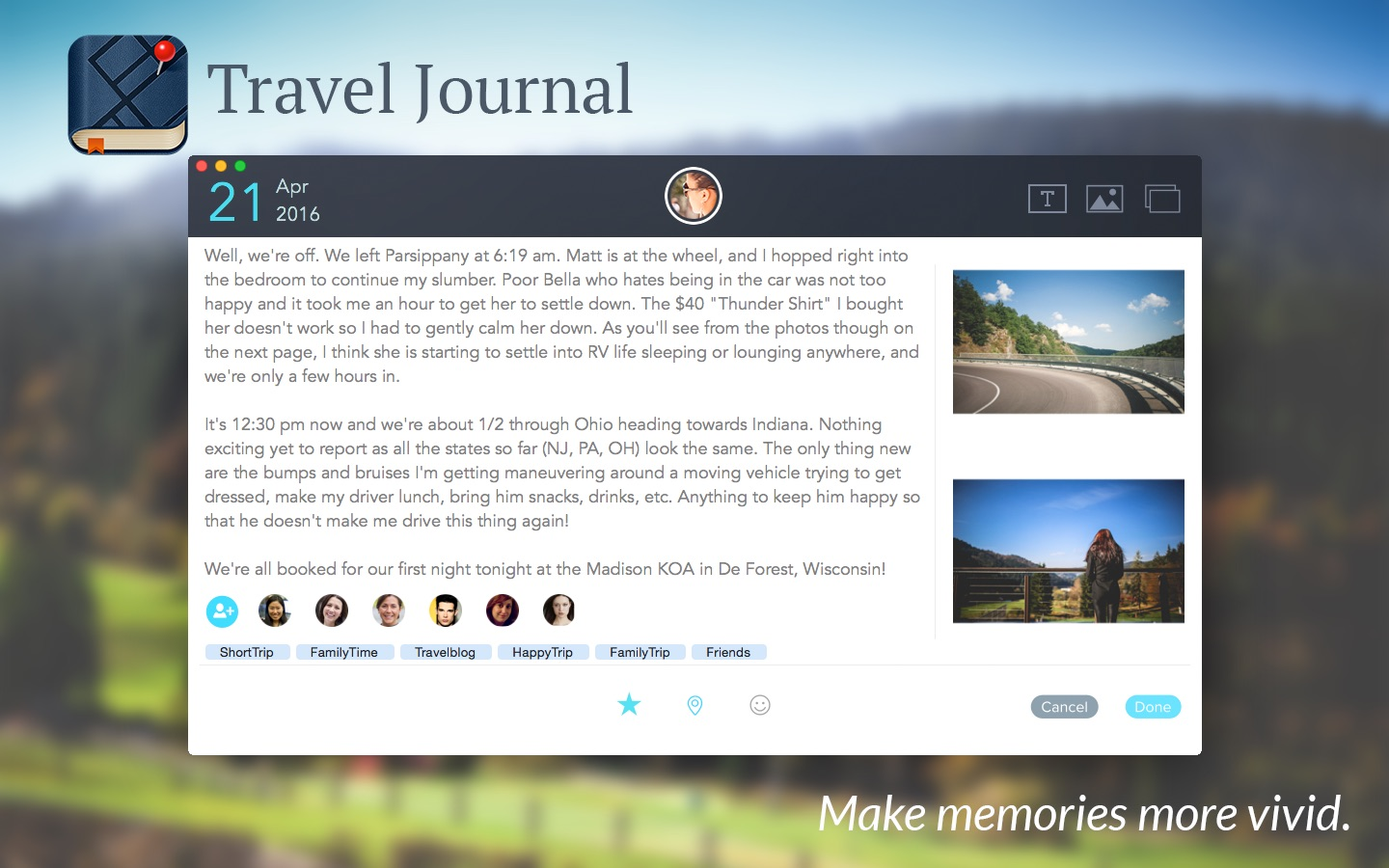 Travel Journal on the MacAppStore